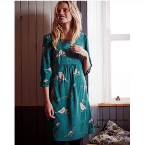 Boden pretty teal 3/4 sleeve bird dress
